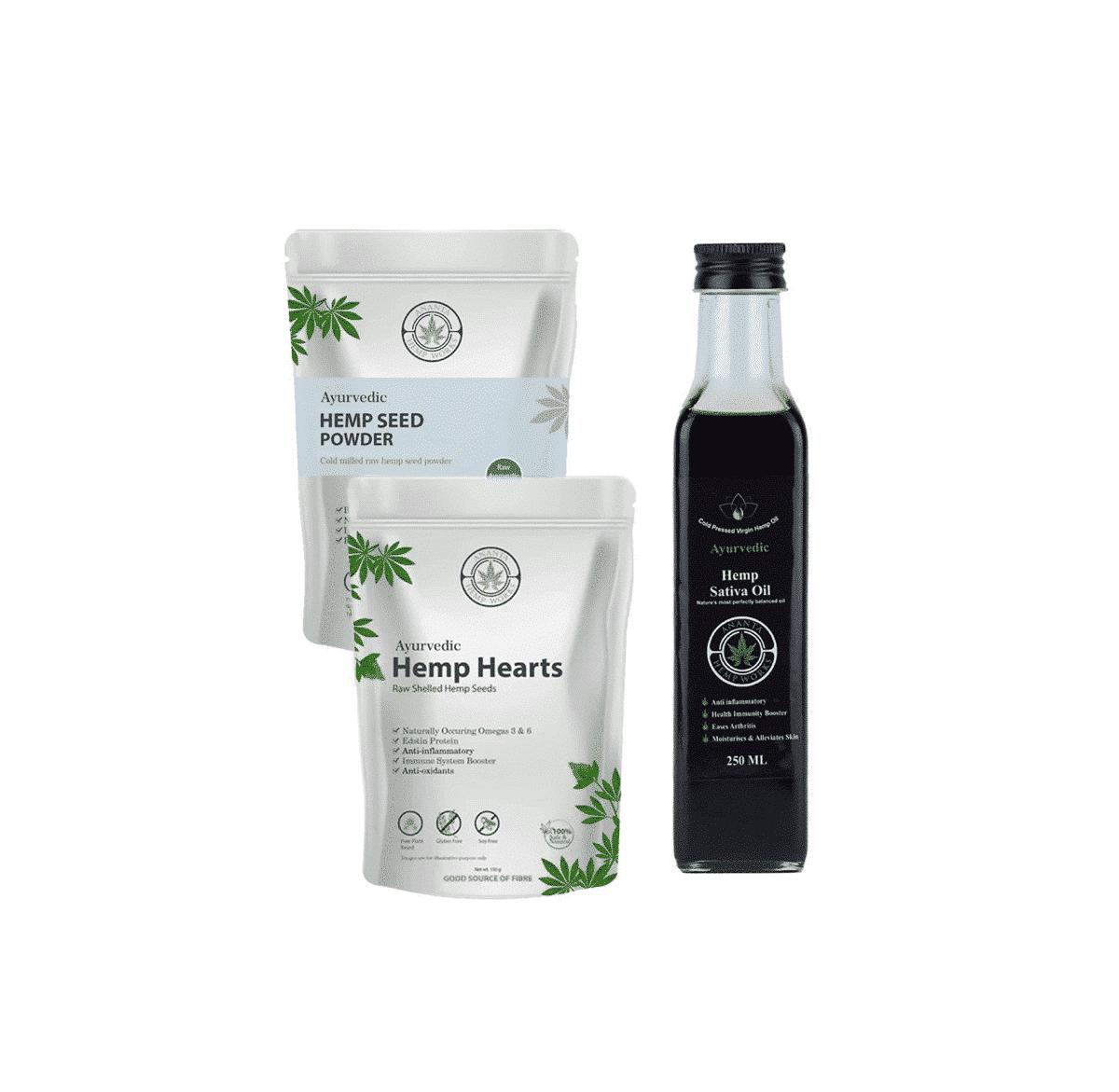 Ananta Hemp Sativa Oil, Hemp Hearts & Seed Powder Combo