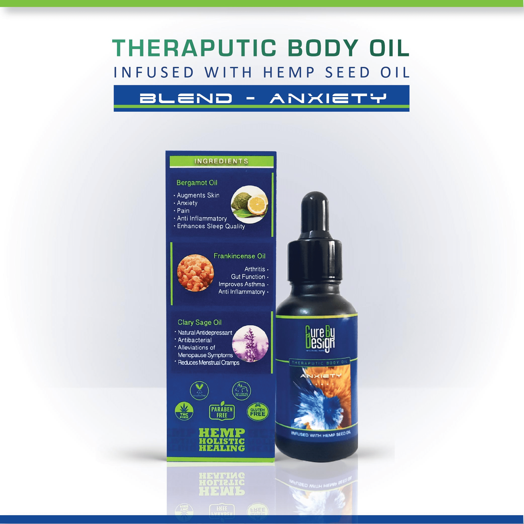 Cure By Design Therapeutic Body Oil for Anxiety